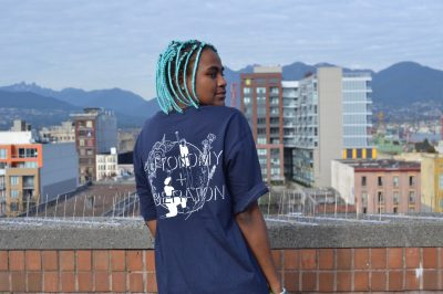 Navy Autonomy and Liberation tee on black model with turquoise hair - Pic #5
