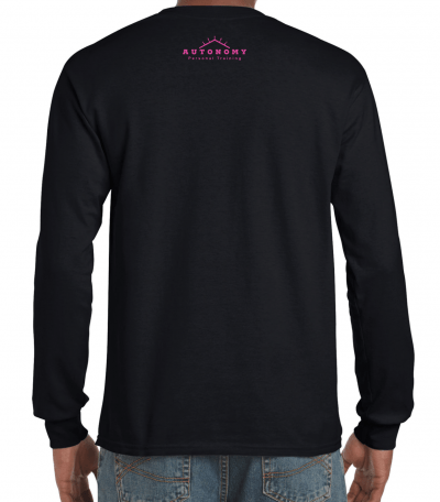 Black long sleeve shirt with cuffs, rear view. In the top portion of the neck, there is a small Autonomy peak logo in bright pink ink